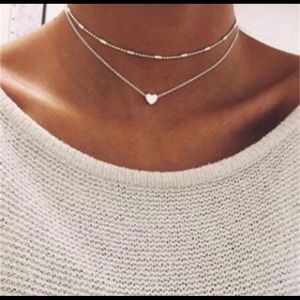 Two Layer Heart Choker Necklace